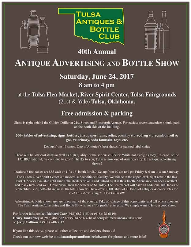 The Tulsa Antiques And Bottle Club's 40th Annual Bottle and Antique Advertising Show @ Tulsa Flea Market in the River Spirit Center | Tulsa | Oklahoma | United States