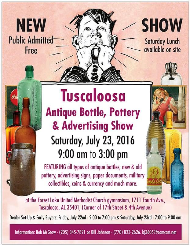 NEW SHOW Tuscaloosa Antique Bottle, Pottery & Advertising Show @ Forest Lake United Methodist Church  | Tuscaloosa | Alabama | United States