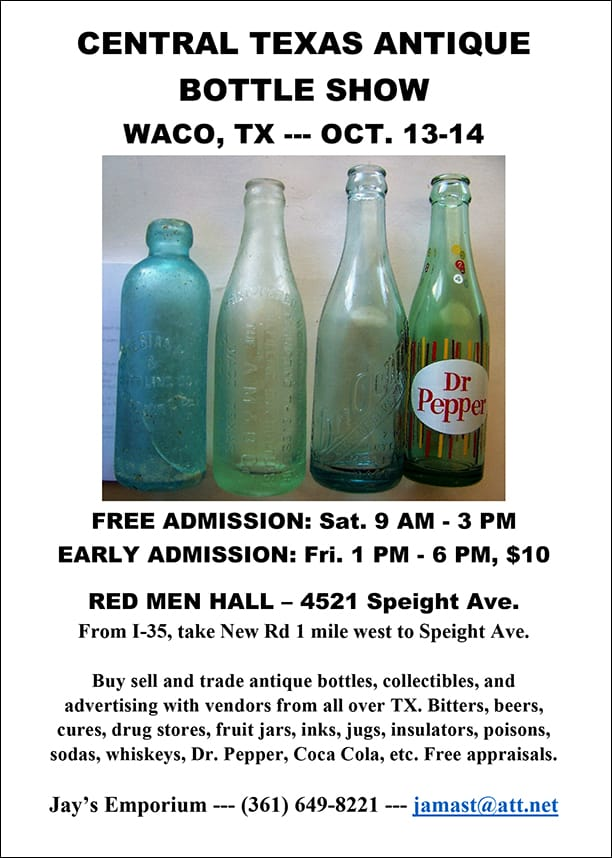 Central Texas Antique Bottle Show @ Red Men Hall | Waco | Texas | United States