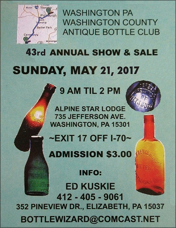 Washington PA Washington County Antique Bottle Club's 43rd Annual Show & Sale @ Alpine Star Lodge   Washington   Pennsylvania   United States