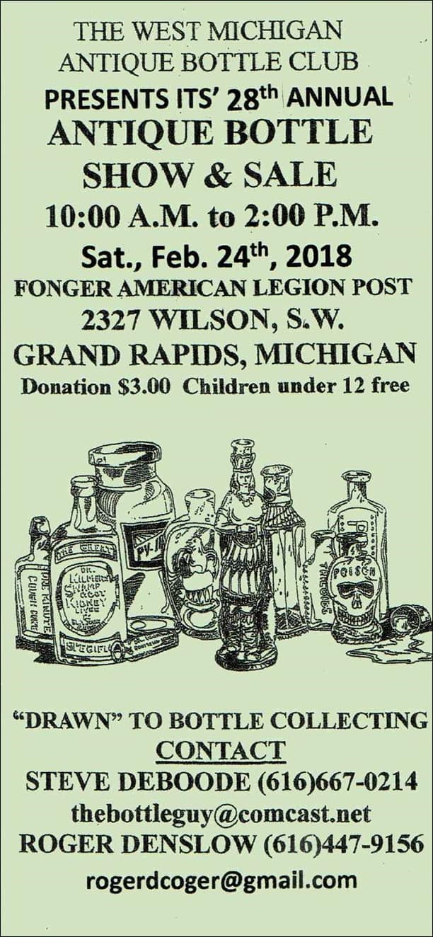 West Michigan Antique Bottle Club's 28th Annual Show & Sale @ Fonger American Legion Post | Grand Rapids | Michigan | United States