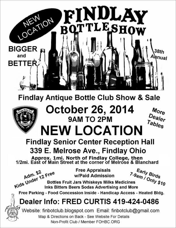38th Annual Findlay Antique Bottle Show @ Findlay Senior Center Reception Hall | Findlay | Ohio | United States