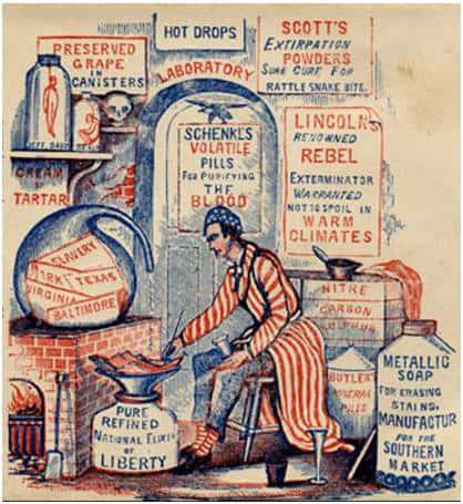 "Do you have a bottle of ""Uncle Sam's Infallible Remedy""? How about ""Lincoln's Renowned Rebel Exterminator""? I bet you don't! Check out some fun patent-medicine […]"