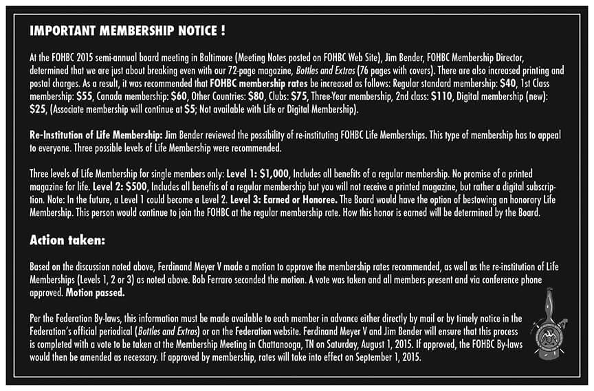 Special B&E Membership Announcement