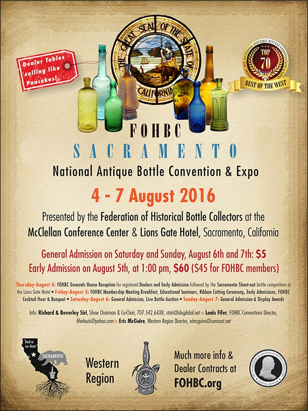 FOHBC 2016 National Antique Bottle Convention & Expo – Western Region @ McClellan Conference Center | McClellan Park | California | United States