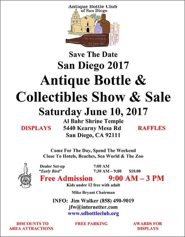 San Diego 2017 Antique Bottle & Collectibles Show & Sale @ Al Bahr Shrine Temple   San Diego   California   United States