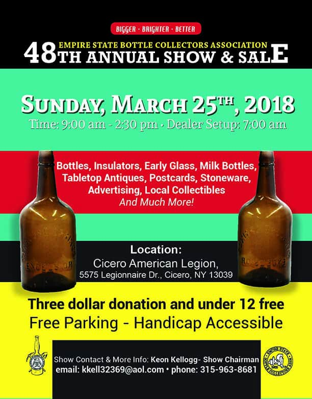 Empire State Bottle Collectors Association 48th Annual Show & Sale @ Cicero American Legion | Cicero | New York | United States