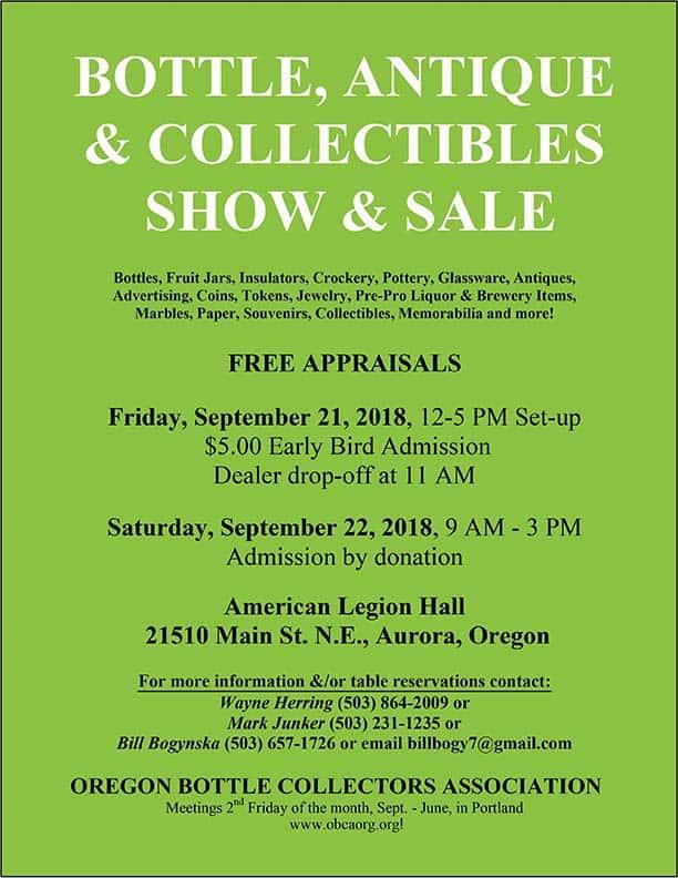 Oregon Bottle Collectors Association Bottle, Antiques, Collectibles Show & Sale @ American Legion Hall | Aurora | Oregon | United States