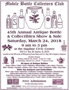 The Mobile Bottle Collectors Club's 45th Annual Show & Sale @ Daphne Civic Center | Daphne | Alabama | United States