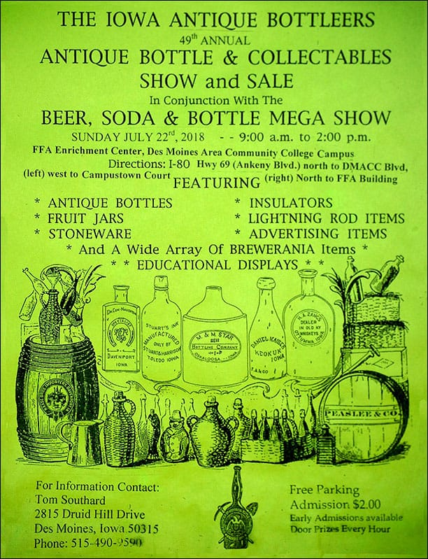 The Iowa Antique Bottleers 49th Annual Antique Bottle & Collectibles Show & Sale @ FFA Enrichment Center at the Des Moines Area Comm. College | Des Moines | Iowa | United States