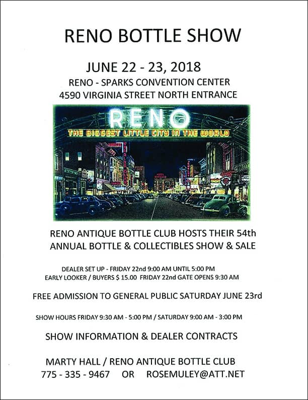 Reno Antique Bottle Club Hosts Their 54th Annual Bottle & Collectibles Show & Sale @ Reno -Sparks Convention Center | Reno | Nevada | United States