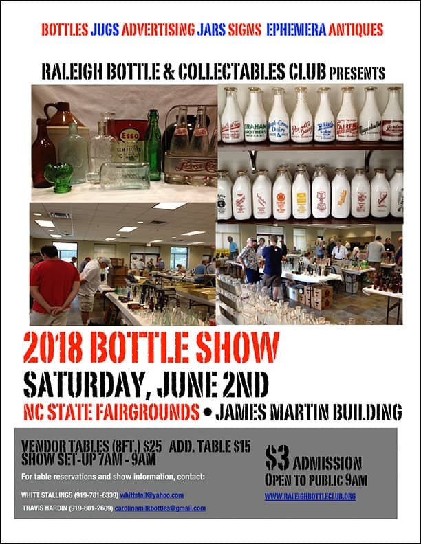 Raleigh Bottle & Collectables Club presents their 2018 Bottle Show @ North Carolina State Fairgrounds, James Martin Building | Raleigh | North Carolina | United States