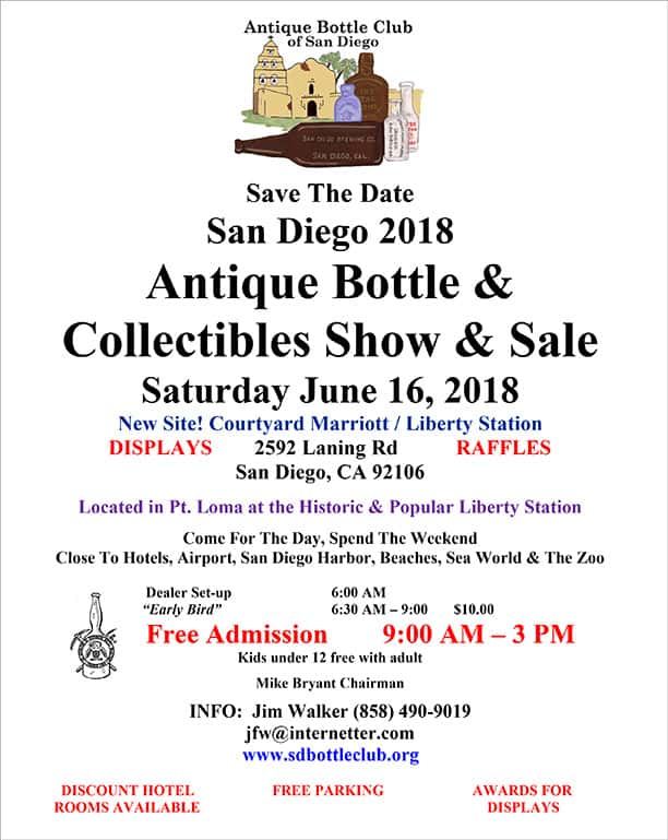 San Diego 2018 Antique Bottle & Collectibles Show & Sale @ Courtyard Marriott, Liberty Station | San Diego | California | United States