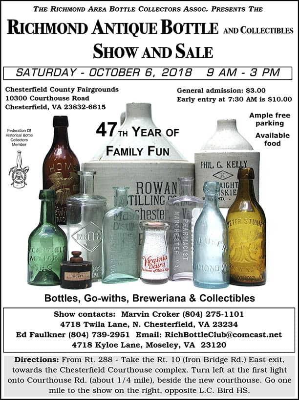 The Richmond Area Bottle Collectors Assoc. Presents The 47th Richmond Antique Bottle and Collectibles Show and Sale @  Chesterfield County Fairgrounds | Chesterfield | Virginia | United States