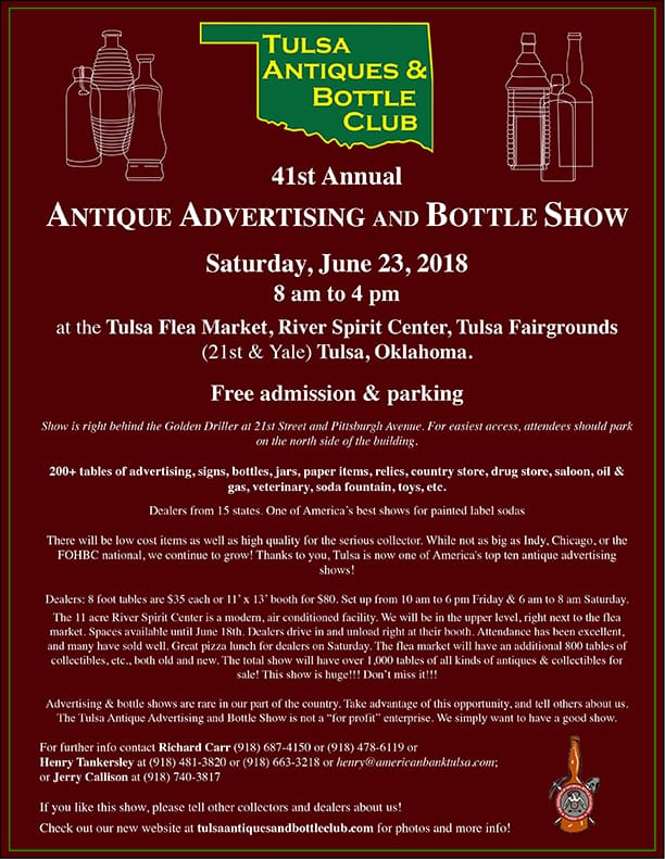 The Tulsa Antiques & Bottle Club's 41st Annual Advertising, Antiques & Bottle Show and Sale @ Tulsa Flea Market in the River Spirit Center, Tulsa Fairgrounds | Tulsa | Oklahoma | United States