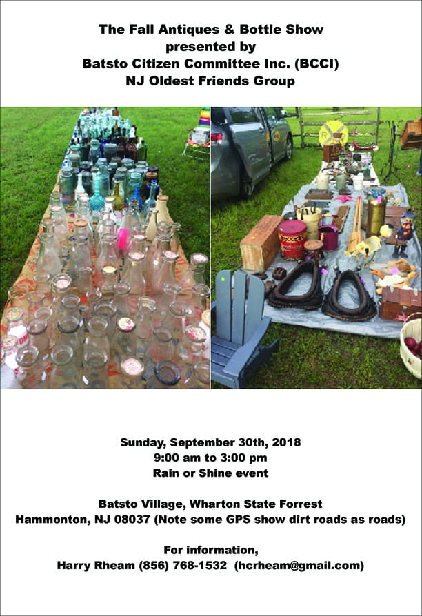 The Fall Antiques & Bottle Show Presented by Batsto Citizens Committee, Inc. @ Batsto Village | Hammonton | New Jersey | United States