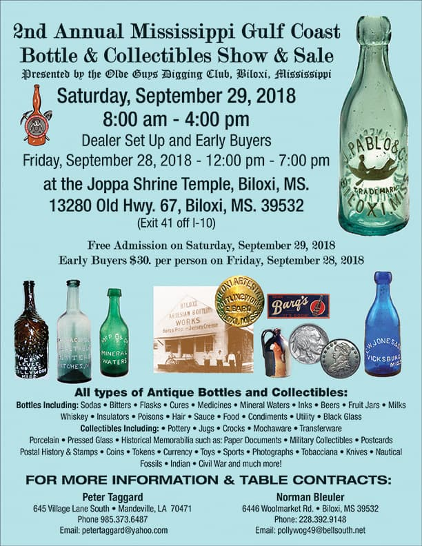 2nd Annual Mississippi Gulf Coast Bottle & Collectibles Show & Sale @ Joppa Shrine Temple | Biloxi | Mississippi | United States