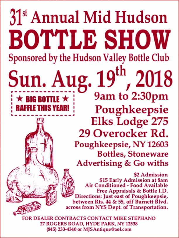 Hudson Valley Bottle Club 31st Annual Mid Hudson Bottle Show & Sale @ Poughkeepsie Elks Lodge 275 | Poughkeepsie | New York | United States