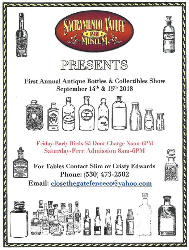 Sacramento Valley Museum presents the First Annual Antique Bottle & Collectibles Show @ Sacramento Valley Museum | Williams | California | United States