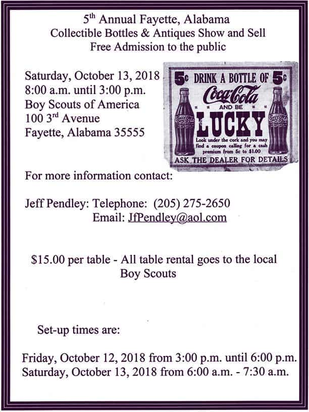 Fifth Annual Fayette, Alabama Collectible Bottles & Antiques Show and Sale @ Boy Scouts of America | Fayette | Alabama | United States