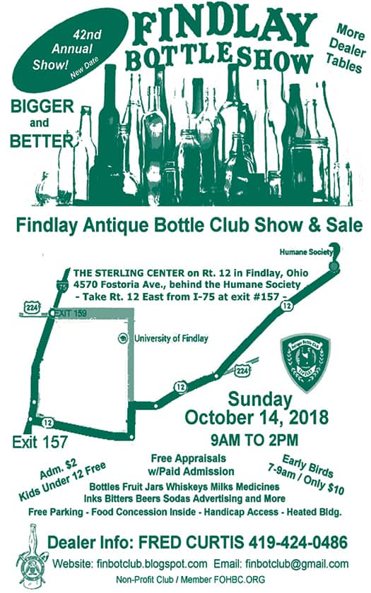 42nd Annual Findlay Antique Bottle Club Show & Sale @ The Sterling Center, Fostoria Building | Findlay | Ohio | United States