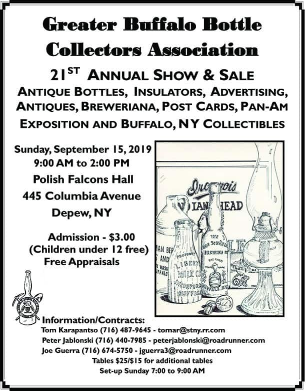 The Greater Buffalo Bottle Collectors Association's 21st Annual Show & Sale @ Polish Falcons Hall