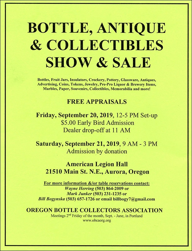 Oregon Bottle Collectors Association – Bottle, Antiques, Collectibles Show & Sale @ American Legion Hall