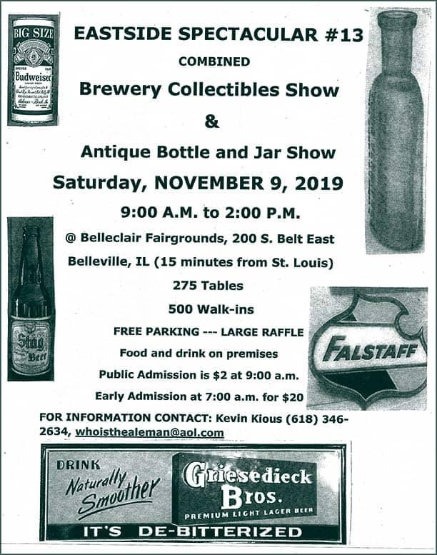 Eastside Antique Bottle, Jar & Brewery Collectibles Annual Show & Sale @ Belleclair Fairgrounds