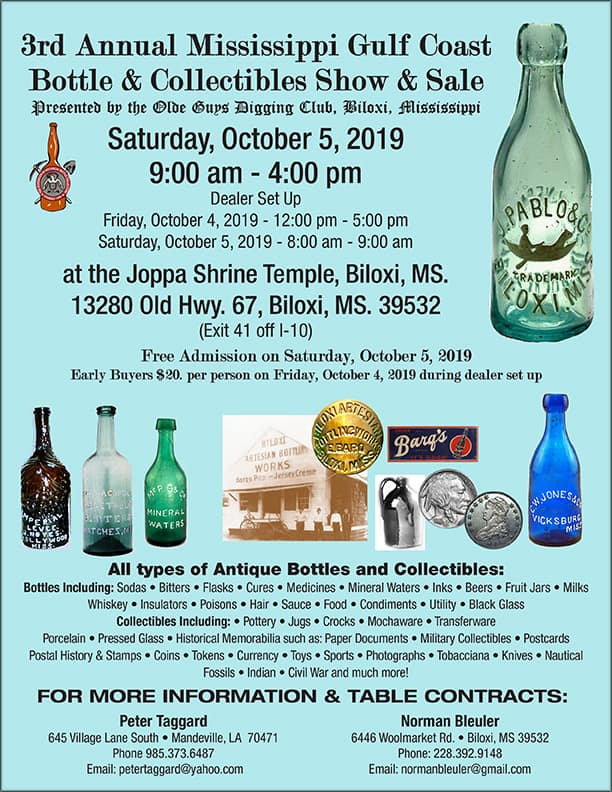 3rd Annual Mississippi Gulf Coast Bottle & Collectibles Show & Sale @ Joppa Shrine Temple