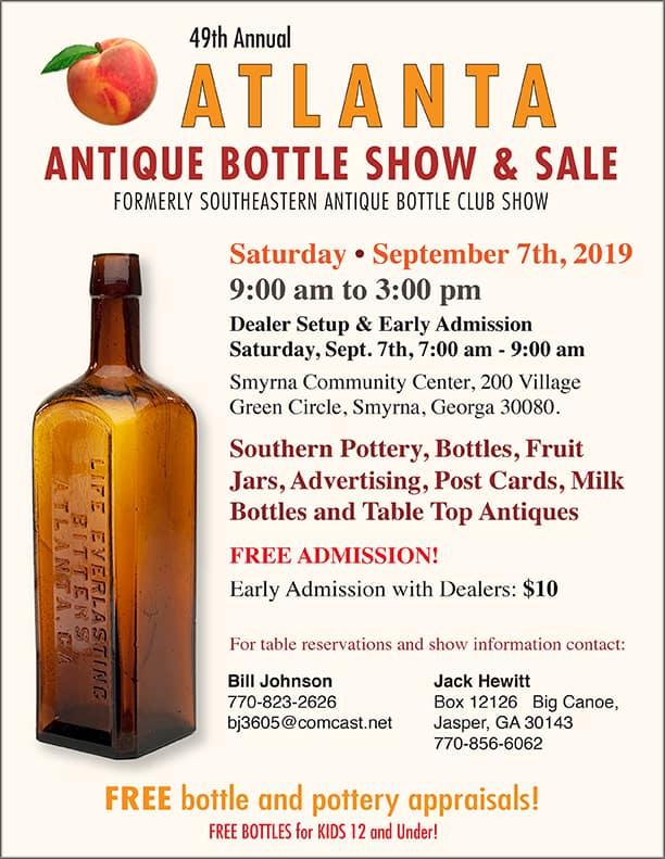 49th Annual Atlanta Antique Bottle Show & Sale @ Smyrna Community Center