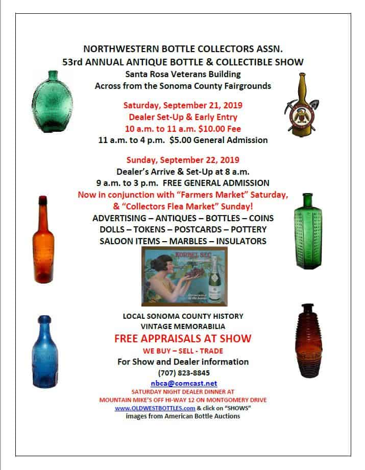 The Northwestern Bottle Collectors Association's 54th Annual Antique Bottle & Collectibles Show @ Santa Rosa Veterans Memorial Building
