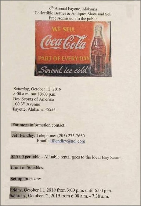 6th Annual Fayette, Alabama Bottle Collectible Bottles & Antiques Show & Sell @ Boy Scout of America Scout Building