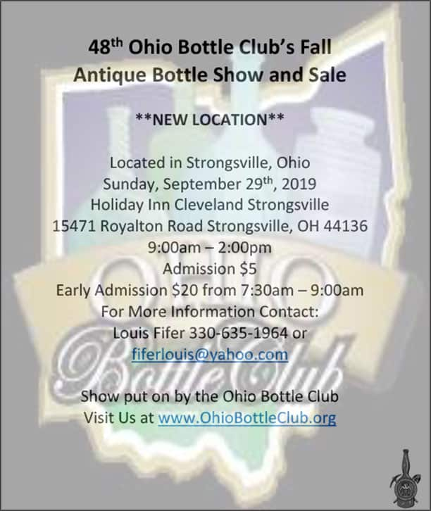 The 48th Ohio Bottle Club Fall Antique Bottle Show and Sale @ Holiday Inn Cleveland Strongsville