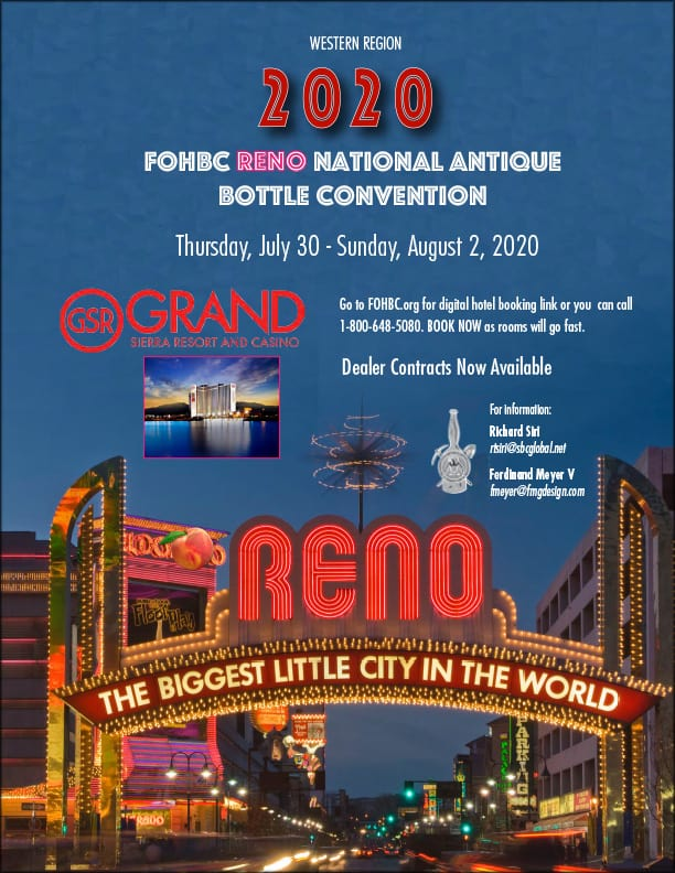 FOHBC National Antique Bottle Convention - Reno 2020