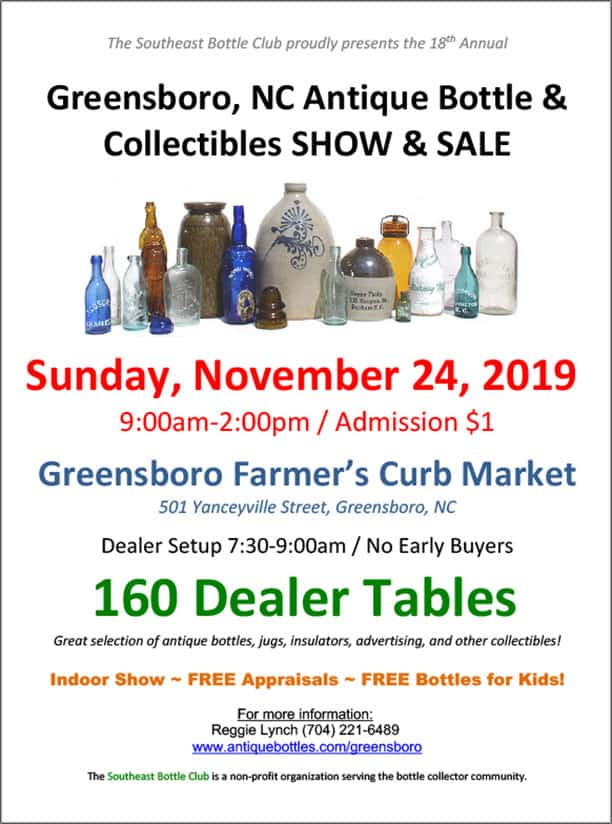 18th Greensboro Antique Bottle & Collectibles Show @ Farmer's Curb Market