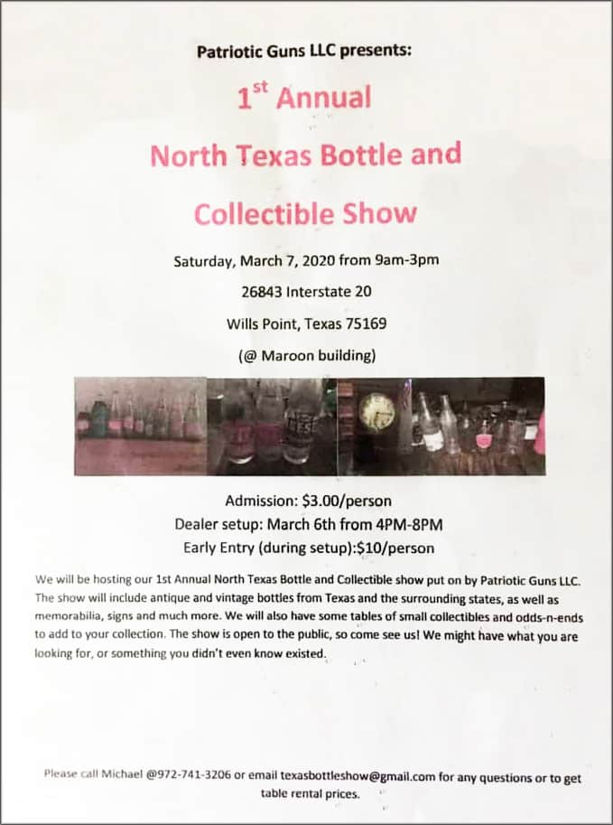 Patriotic Guns LLC presents: 1st Annual North Texas Bottle and Collectible Show