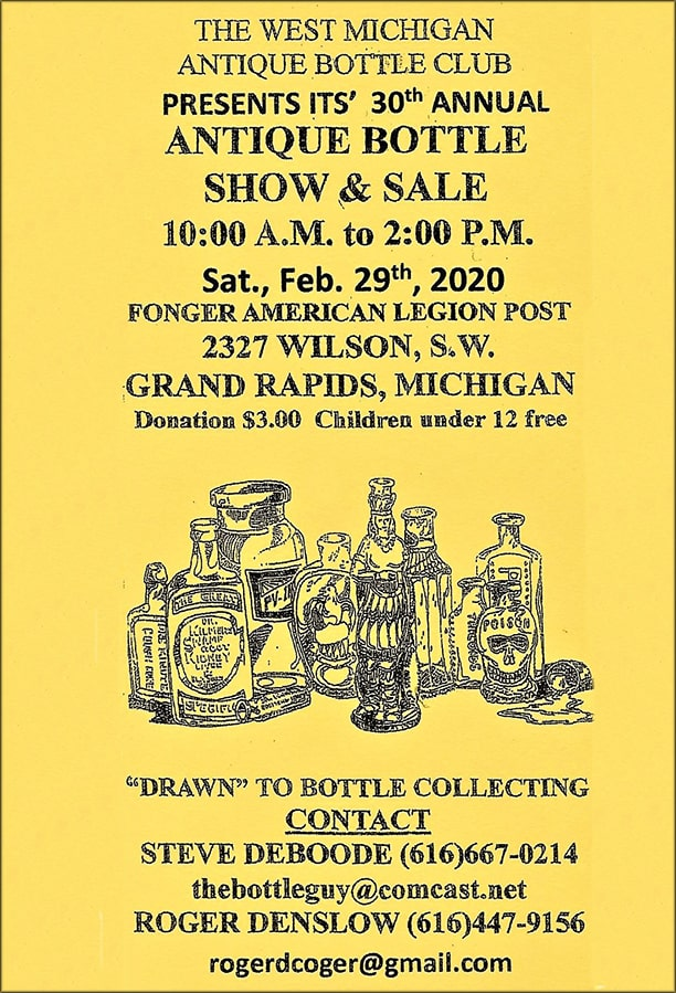 The West Michigan Antique Bottle Club's 30th Annual Show @ Fonger American Legion Post