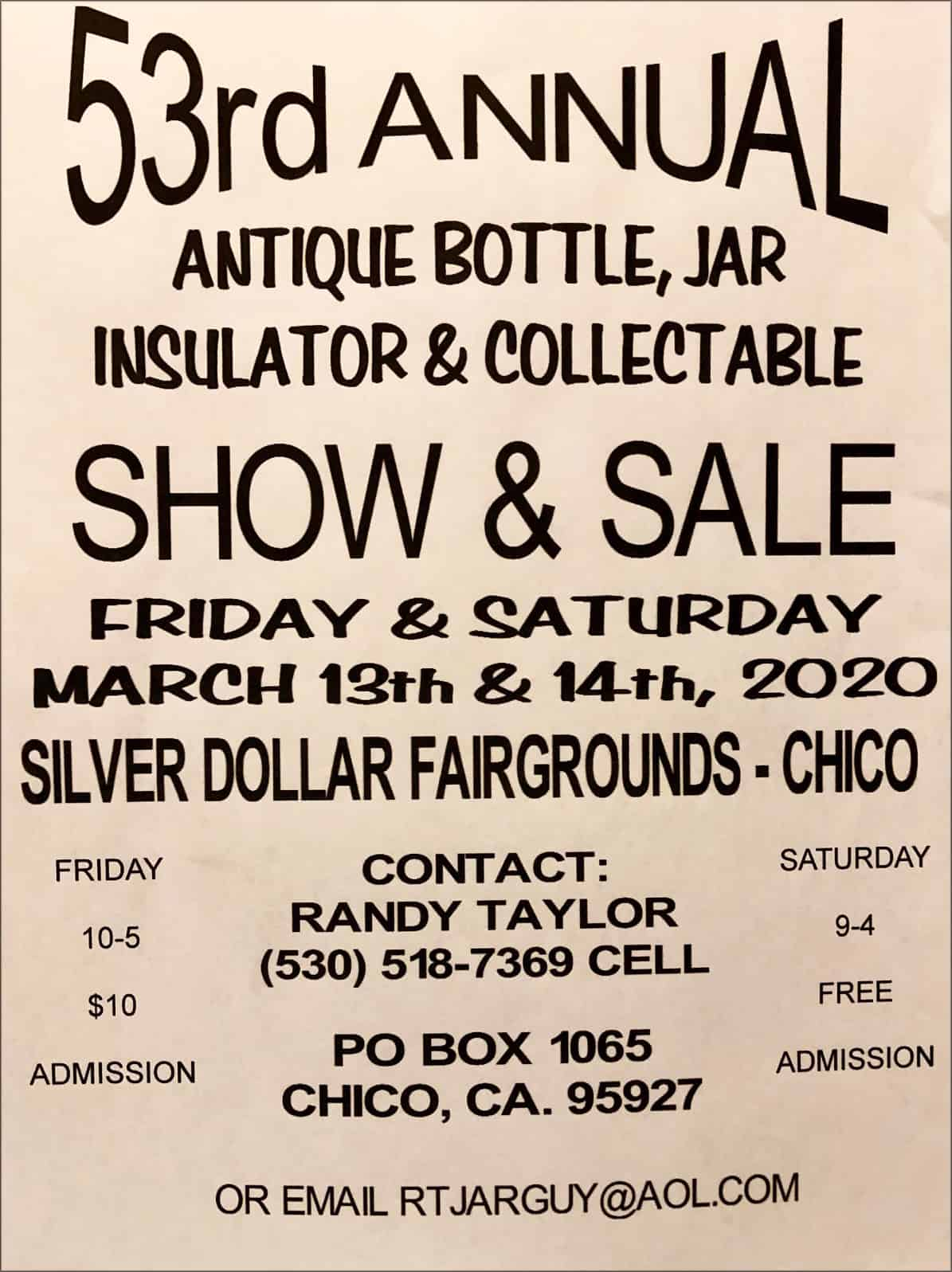 53rd Annual Antique Bottle, Jar, Insulator & Collectible Show & Sale @ Silver Dollar Fairgrounds