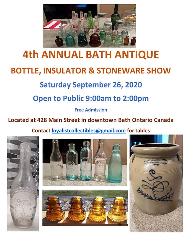 4th Annual Bath Antique Bottle and Insulator Show @ Bath Masonic Lodge