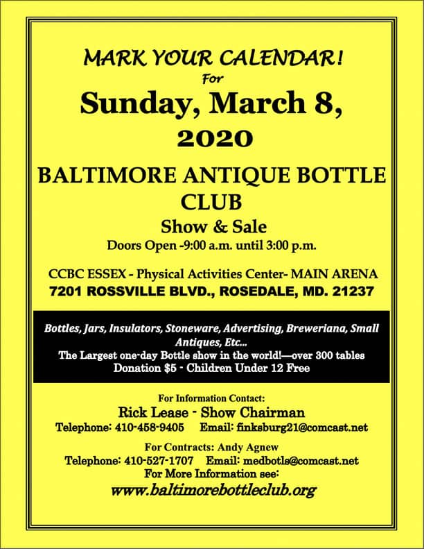 The Baltimore Antique Bottle Club's 40th Annual Show & Sale @ Physical Education Center