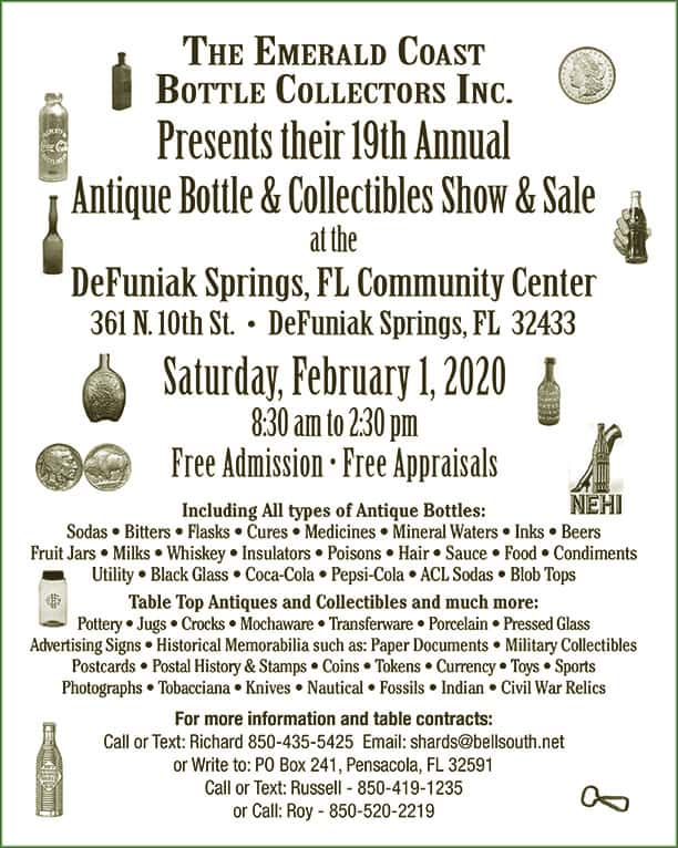 The Emerald Coast Bottle Collector's Inc., 19th Annual Show & Sale @ DeFuniak Springs Community Center