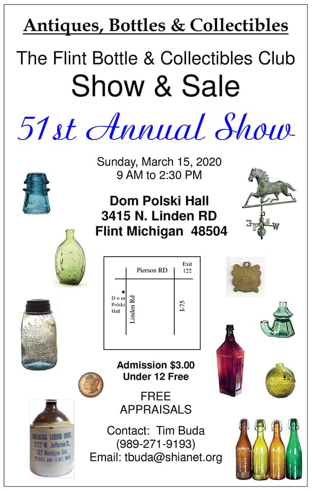 The 51st Flint Antique Bottle & Collectibles Show @ Dom Polski Hall