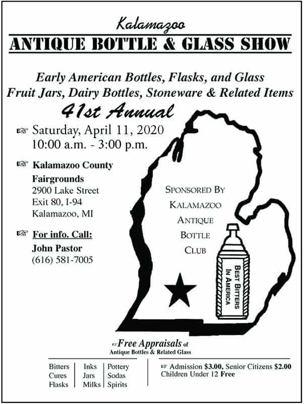 The Kalamazoo Antique Bottle Club's 41st Annual Show & Sale @ Kalamazoo County Fairgrounds