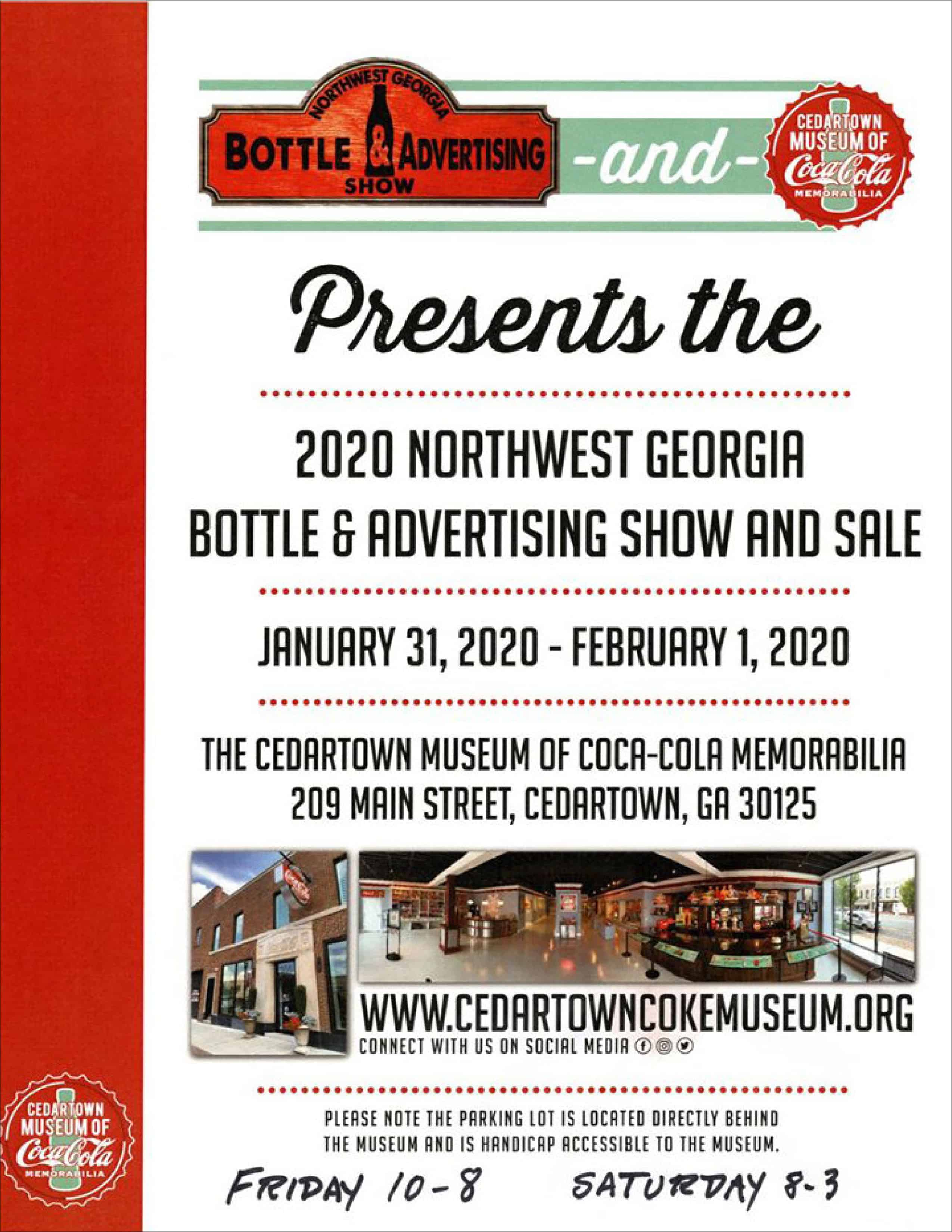 Northwest Georgia Bottle & Advertising Show and Sale @ The Cedartown Museum of Coca-Cola Memorabilia