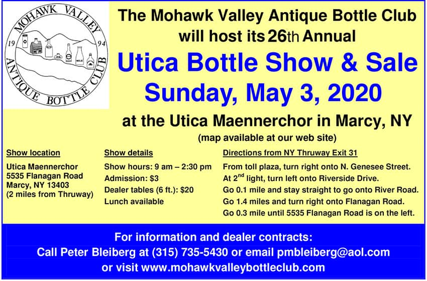 26th Annual Utica Bottle Show & Sale Hosted by the Mohawk Valley Antique Bottle Club @ Utica Maennerchor
