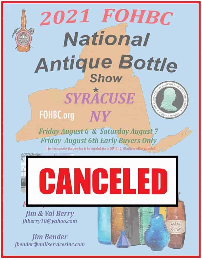 2021 FOHBC National Antique Bottle Show – Syracuse, New York